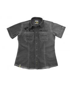 "Short sleeved ""1990"" blouse women, grey"