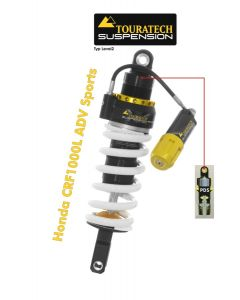 Touratech Suspension shock absorber for Honda CRF1000L Adventure Sports from 2018 Type Level2/PDS