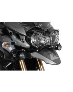 Stainless steel headlight protector, black, with quick release fastener for Triumph Tiger 800/ 800XC/ 800XCx and Tiger Explorer *OFFROAD USE ONLY*